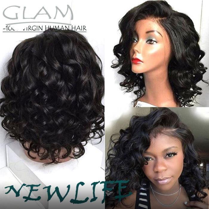 150% Sans colle Lace front Perruques de Cheveux Humains de Bob de Cheveux Humains Brésiliens Naturel Bouclés Perruques 12pouces