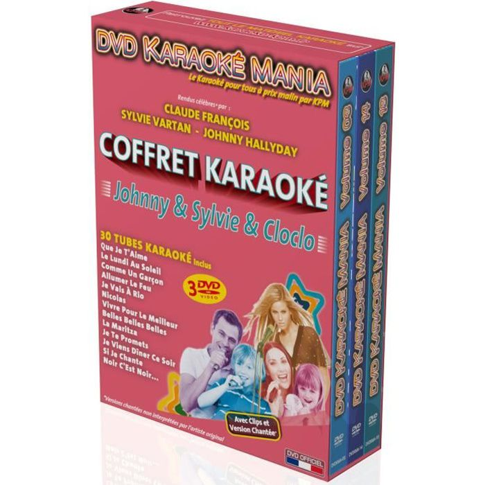 Coffret 3 DVD Karaoké Mania -Johnny & Sylvie & Cloclo-