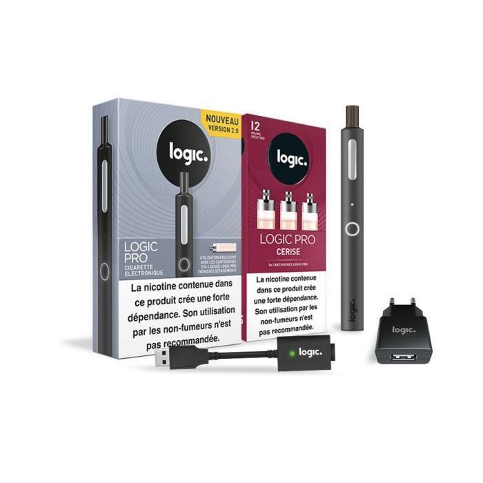 Logic PRO - Cigarette électronique Noir + 3 cartouches Cerise 12 mg + Chargeur USB et mural