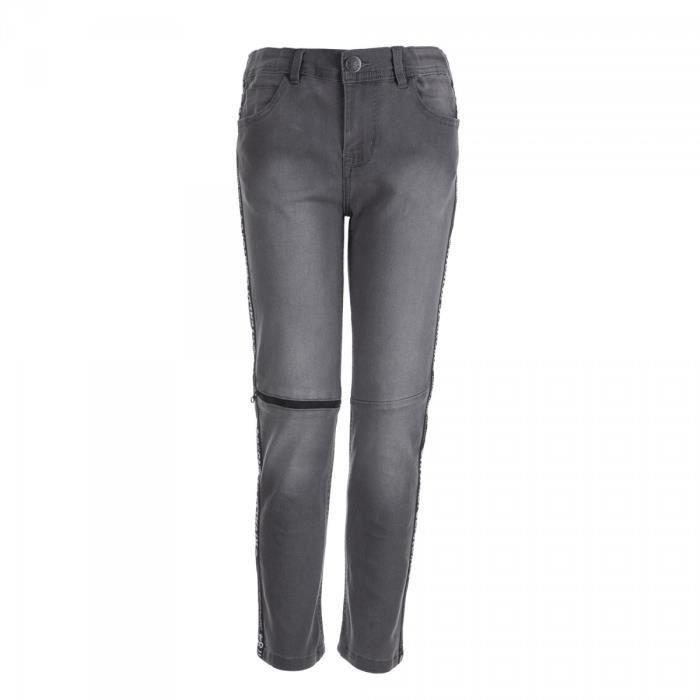 RIVALDI - Jeans denim 5 poches bandes côtés - Gris - Enfant Garçon