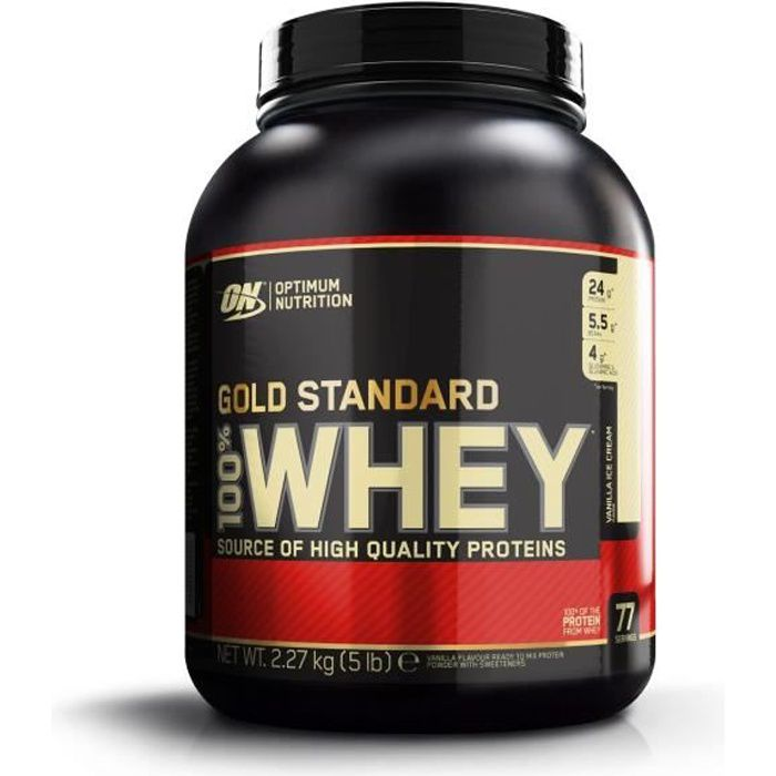 OPTIMUM NUTRITION Pot 100% Whey Gold Standard Glace Vanille - 2,27 kg