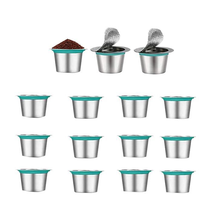 15 PièCes SéRies Recharge Café Capsules en Acier Inoxydable Rechargeable pour Nespress Café Capsule Café Filtres Tasse