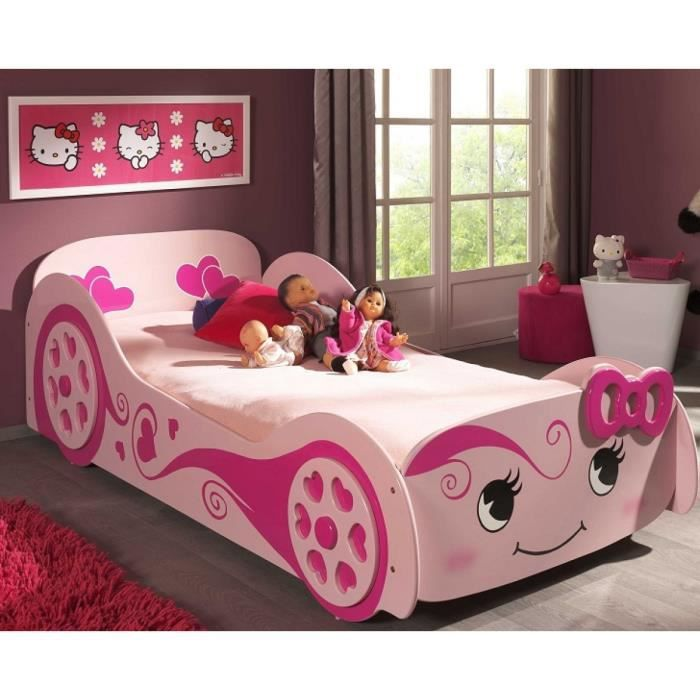 FUN Lit voiture enfant -love- rose