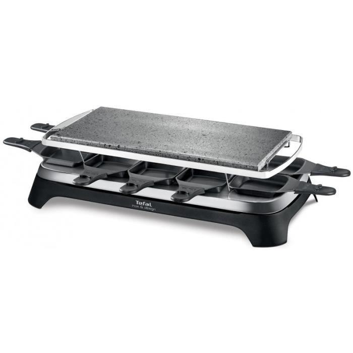 Raclette et fondue TEFAL - Pierrade® raclette Inox & Design - 10 personnes - 1350 W (PR457812) • Cuisson conviviale