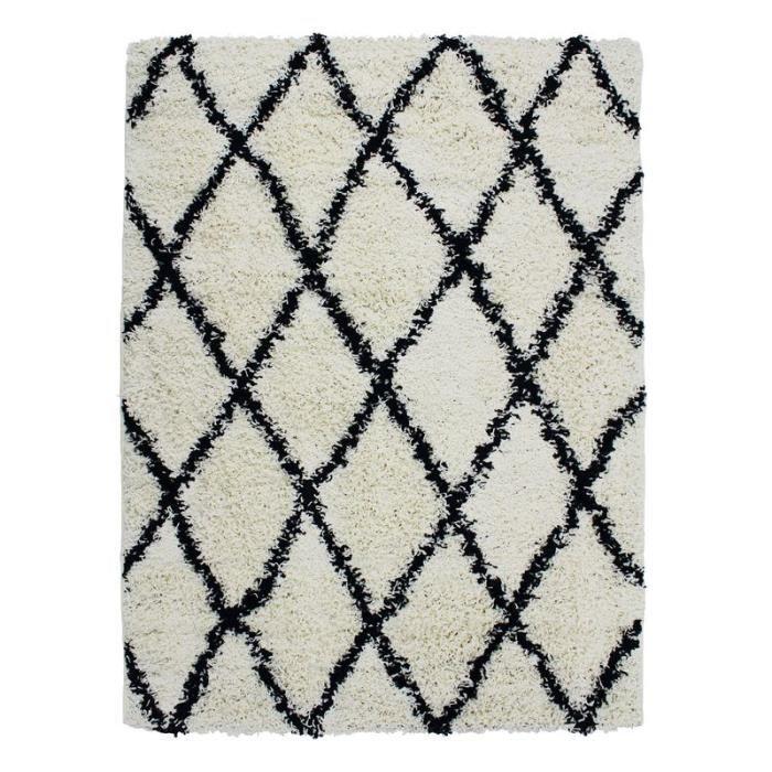 Tapis de salon et chambre au toucher laineux ethnique écru et noir 120x160 ETHNIC BERBERE ASM