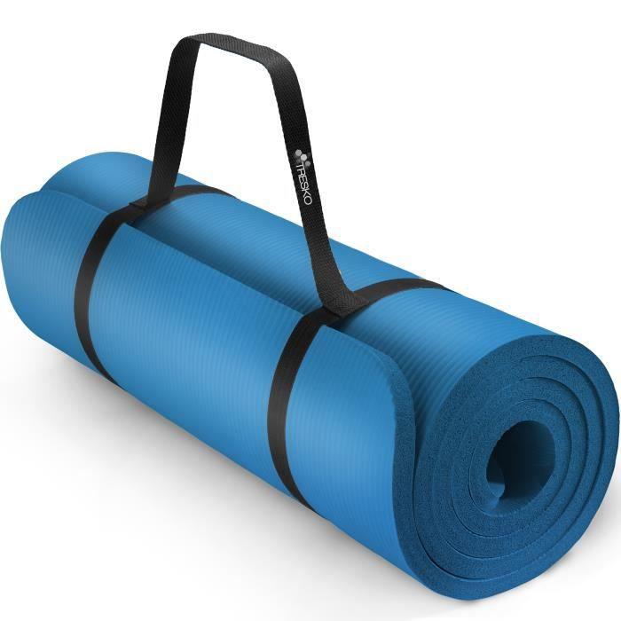 TRESKO Tapis d'exercice fitness yoga pilates gym, en Mousse NBR (185 x 60 x 1,5cm) Bleu