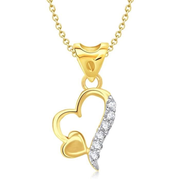 Womens Vina Jewels Valentine Double Heart Shape Gold And Rhodium Plated Pendant - P1152g [vkp1152g F79QH