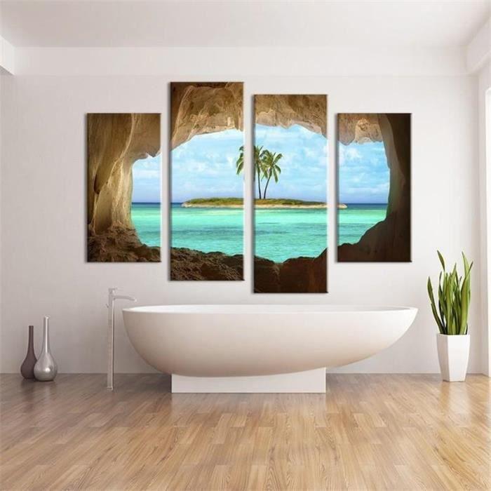4 Pcs Grotte Seacape Peinture Salon Peinture Sur Toile Home Decor Idées Peintures Sur Le Mur Photos Affiche Pas étiré Pas Encadré