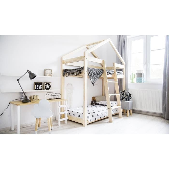 lit superpos enfant cabane maison pin massif 90x190. Black Bedroom Furniture Sets. Home Design Ideas