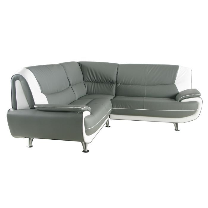 Canap d 39 angle gris et blanc palermo achat vente canap sofa diva - Canape d angle grande taille ...
