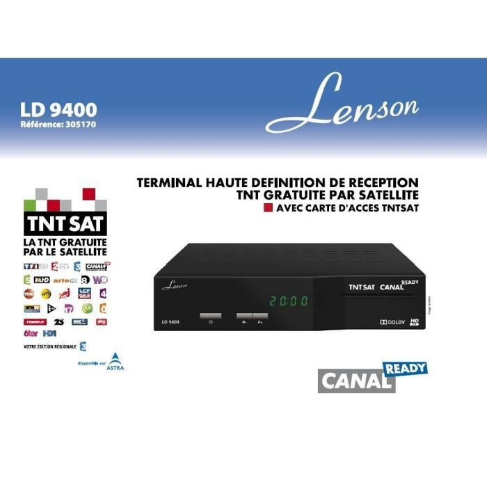 garantie 3 ans lenson ld9400 decodeur r cepteur satellite labellis tntsat hd mpeg4 avec carte. Black Bedroom Furniture Sets. Home Design Ideas