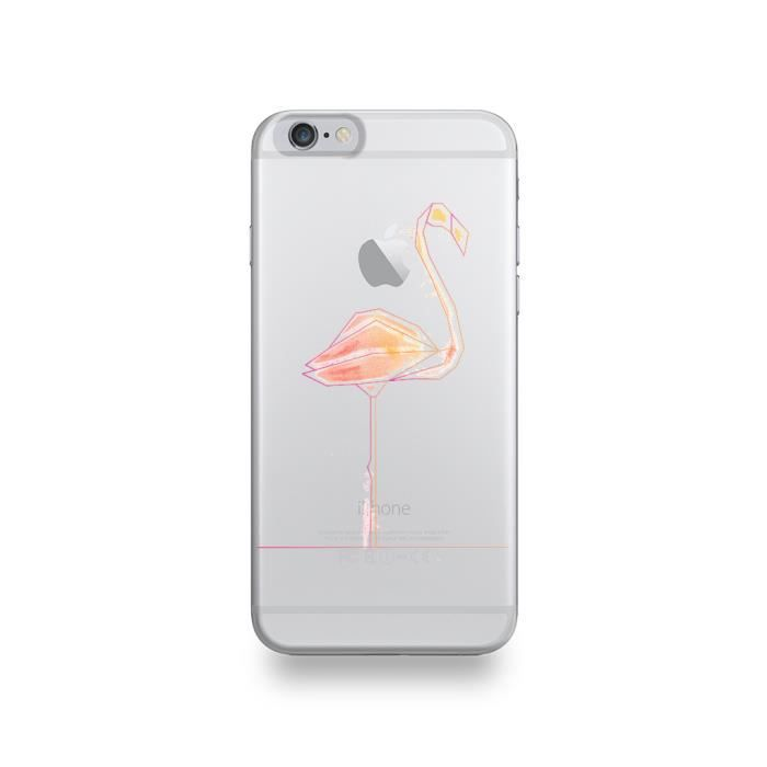 Coque Apple Iphone 6 6s Silicone Motif Flamant Rose Pastel
