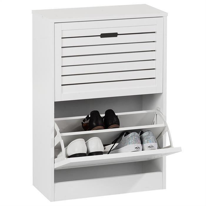 armoire pairesen avec abattants mat rangement MDF Meuble pour ADRIA 2 blanc chaussures colonne à 12 en WQxodCrBe