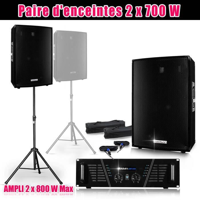 pack sono 2 enceintes 2x700w amp 1000 pieds cables pack. Black Bedroom Furniture Sets. Home Design Ideas