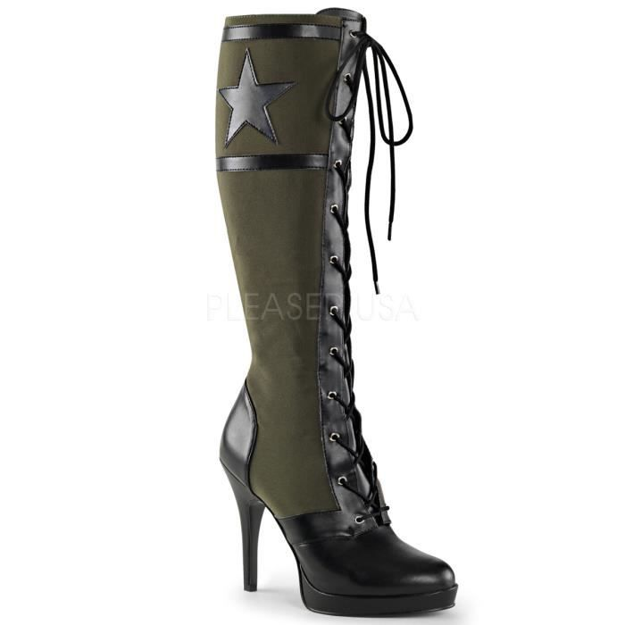 "Funtasma ARENA-2022 4 1/2"" Heel, Front Lace Up Knee High Military Boot, Side Zip"