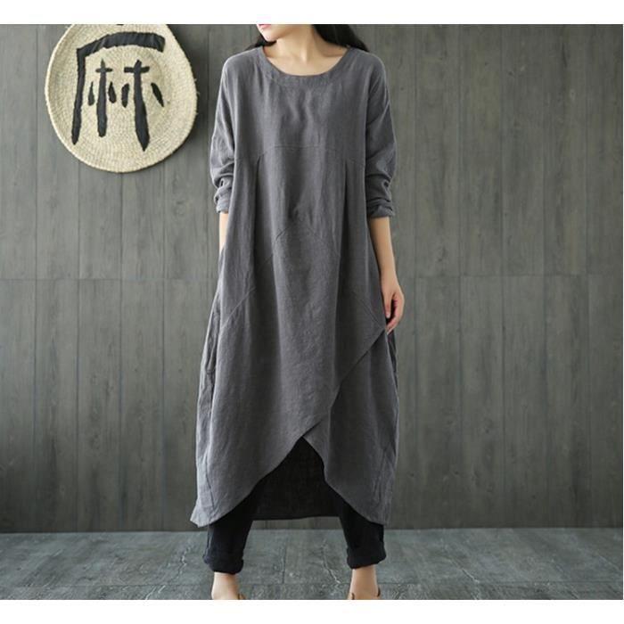 Femme Ethnique Robe Ete Chic Maxi Longue Plus Size Tunique Boheme Lache Coton Lin Boho Dress Gris Gris Achat Vente Robe Cdiscount