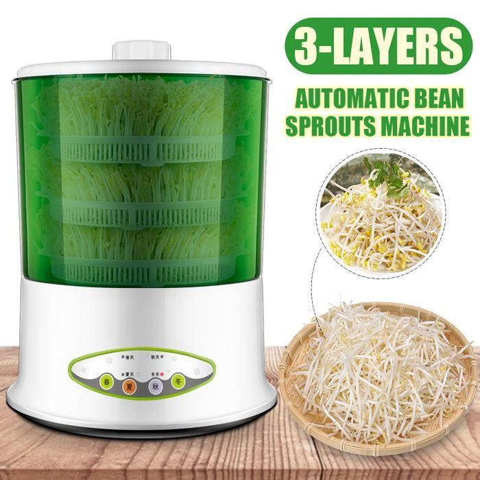affichage /à LED Accueil Enti/èrement automatique Maker de germes de soja intelligent Fonction 2 couches Fonction de grande capacit/é de culture de c/ér/éales Outil de mise hors Machine de germes de soja
