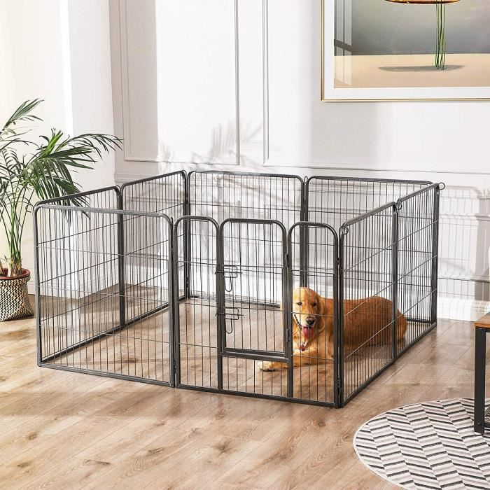 luxe parc enclos pour chiens chiots animaux de compagnie gris 80 x 80 cm songmics ppk88g. Black Bedroom Furniture Sets. Home Design Ideas