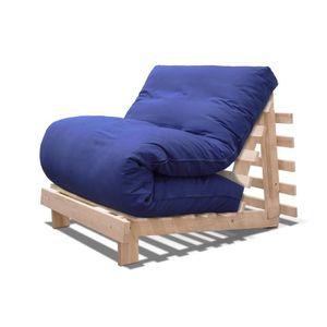 BZ Canapé lit Luna- Naturel, housse blue, 103 x 90 x