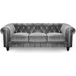 CANAPÉ - SOFA - DIVAN Canapé 3 places velours Gris CHESTERFIELD