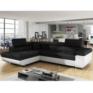 CANAPÉ - SOFA - DIVAN Canapé d'angle convertible noir et blanc LIAM 5 An