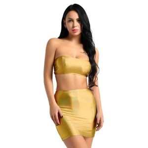 JUPE Sexy Clubwear Ensmeble Tenue 2Pcs Mini Jupe Moulan