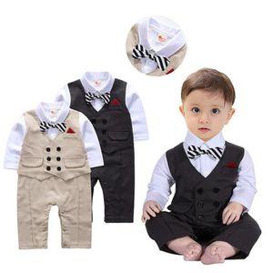 Ensemble de vêtements Tout-petit bébé garçon Bowtie Gentleman Gilet Pant