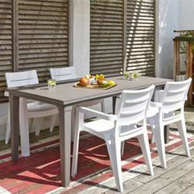 Allibert salon de jardin taupe + 6 fauteuils blancs - Achat ...