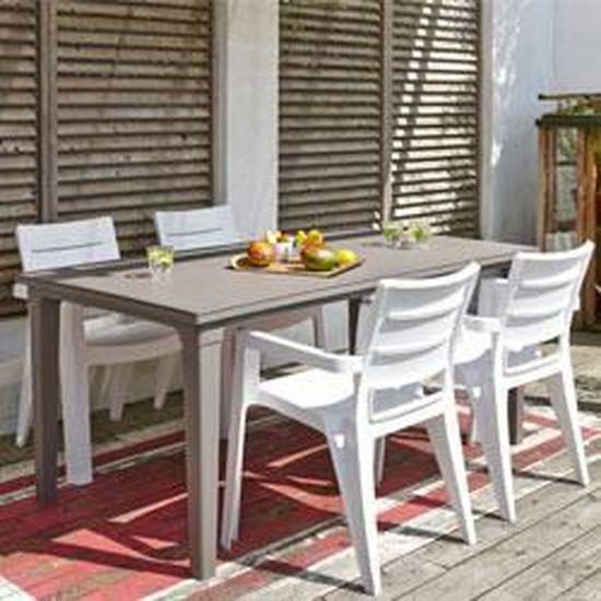 Allibert salon de jardin taupe + 6 fauteuils blancs