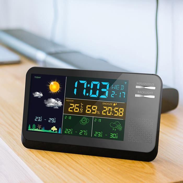Station météo météorologique couleur pour thermomètre numérique sans fil avec capteur extérieur sans fil et connexion Wi-Fi