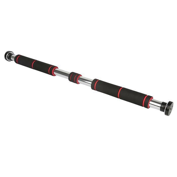 -Mixmest- Barre Horizontale de Porte de Gym pour une largeur de porte de 80 à 130 cm Barre de Traction - Noir + rouge
