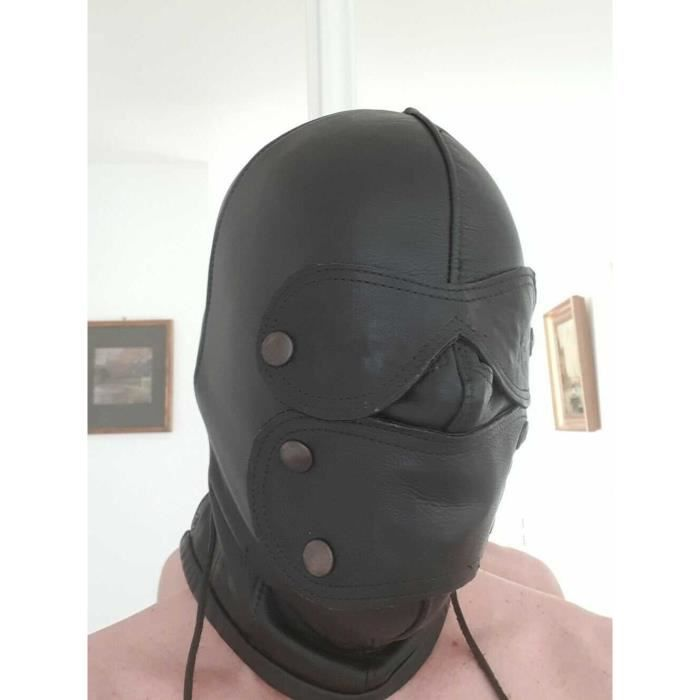 Bondage leather hood / Cagoule cuir SM