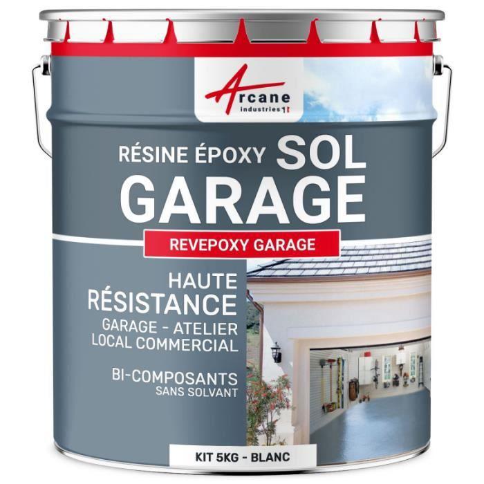 Peinture Époxyde Sol Garage - Blanc - kit 5 Kg (couvre jusqu'à 16m² pour 2 couches)