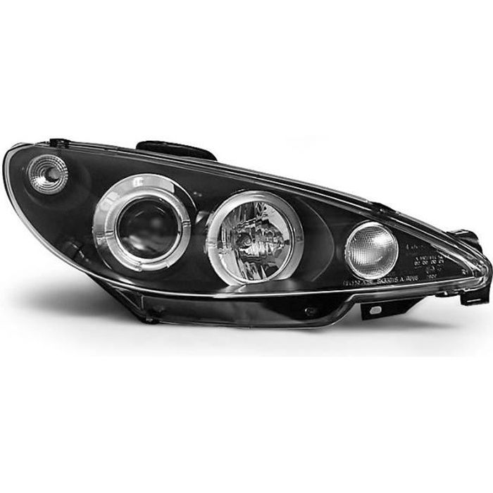 Paire de feux phares Peugeot 206 98-02 angel eyes noir (E02)