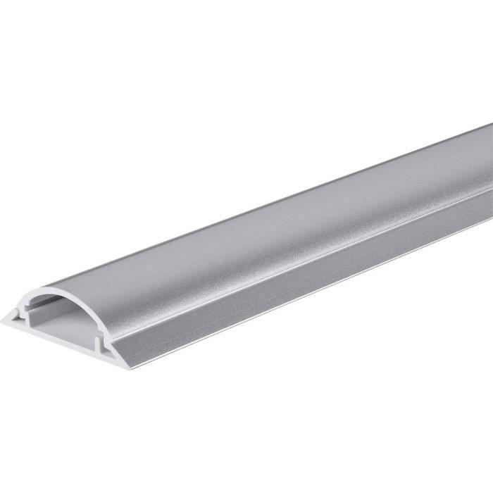 Protège-câbles TRU COMPONENTS 1572569 PVC argent Nombre de canaux: 1 1000 mm 1 m - MOULURE - GOULOTTE - CACHE FIL - PLINTHE - GAINE