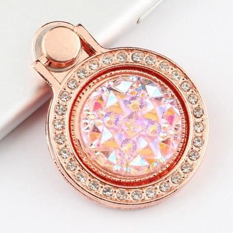 Anneau de téléphone portable en métal brillant diamant de luxe, Support de téléphone portable, prise 360 étui à té - Rose - ALYZ1582