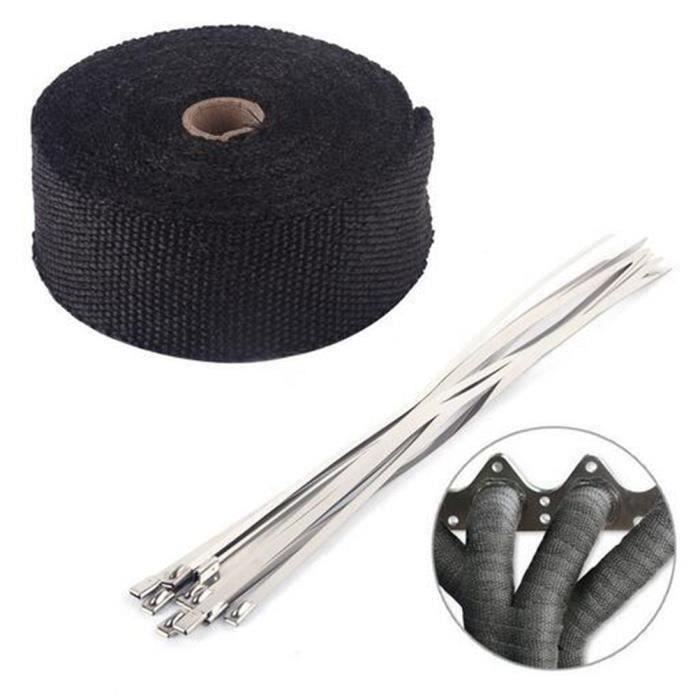 YM 10M Noir Bande Thermique Isolante Avec 10 Colliers Collecteur Echappement Tube - YMTS823A4571