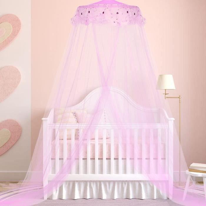 Ciel de lit Moustiquaire Violet, Ciel de Lit Princesse Moustiquaire Dôme Polyester, Décoration pour Chambre Bébé ou Enfant (Hauteur