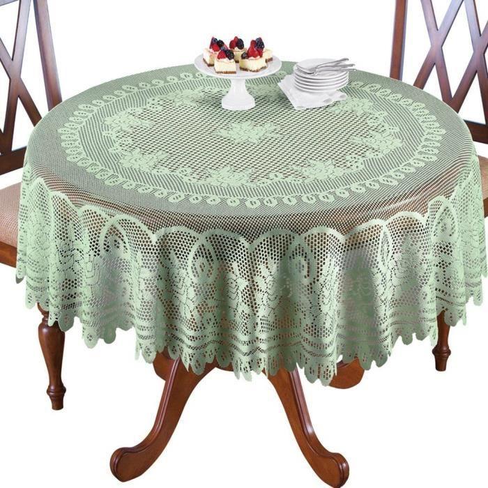 Nappe de table de cuisine en dentelle blanche ou crème au choix rond ou oblong A03469OS