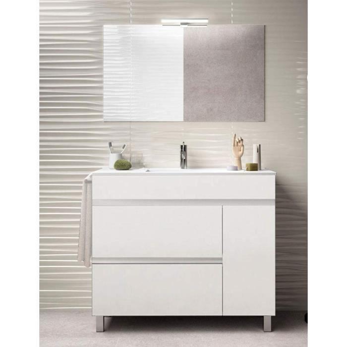 Meuble de salle de bain FENRIR 100CM Blanc avec plan vasque et miroir. Avec porte serviettes en cadeau!!!