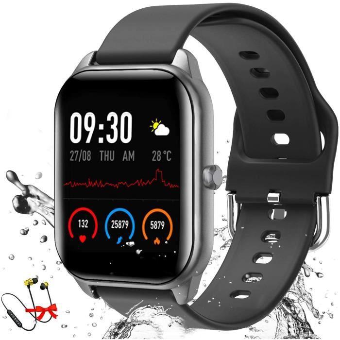 Montre Connectée Femmes Homme, 1,4 Pouces Smartwatch avec Oxymetre Tensiometre Cardiofrequencemètre, Etanche IP68 Sport Podometre Ca