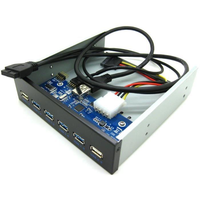"""Cabling Façade avant 4 ports Usb 3.0 + 2 ports Usb 2.0 Pour emplacement 5.25"""""""