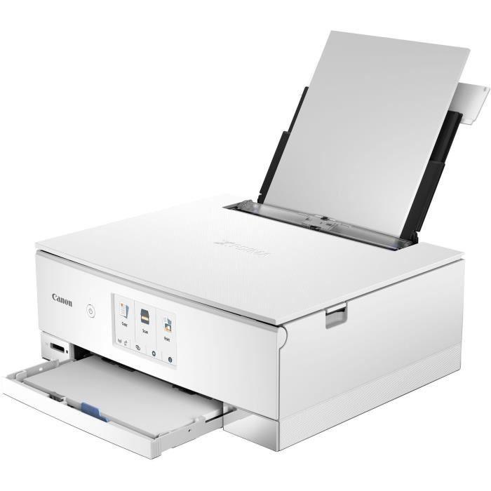 Canon Imprimante multifonction 3 en 1 Pixma Ts 8251 blanche jet d'encre A4 Wifi Ecran tactile 10,8cm Rv auto Carte Sd