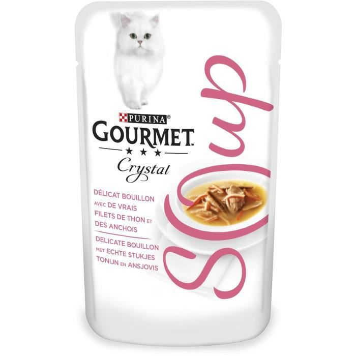 GOURMET Crystal Soup - Soupes en sachets - Recettes au thon - Pour chat adulte - 40 g