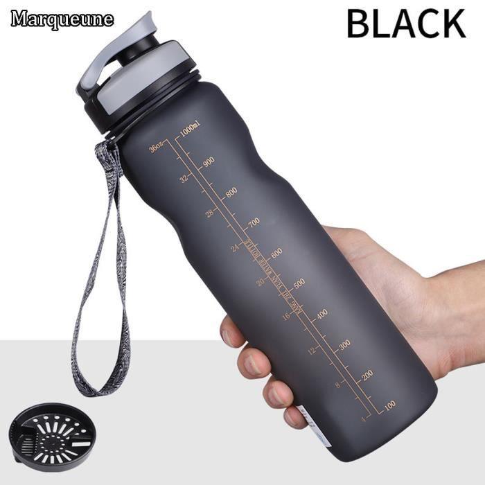 Bouteille d'eau Sport 1L MARQUEUNE,sans BPA,Écologique Gourde Eau pour Gym,Yoga,Course à Pied, Activités de Plein air,Voyage,Noir
