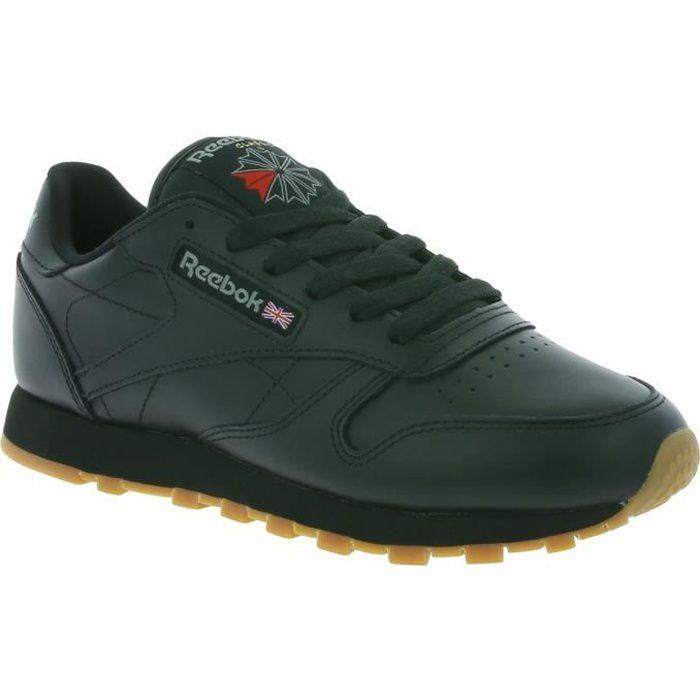 Reebok Classic Leather en cuir véritable femmes sneaker Noir 49804