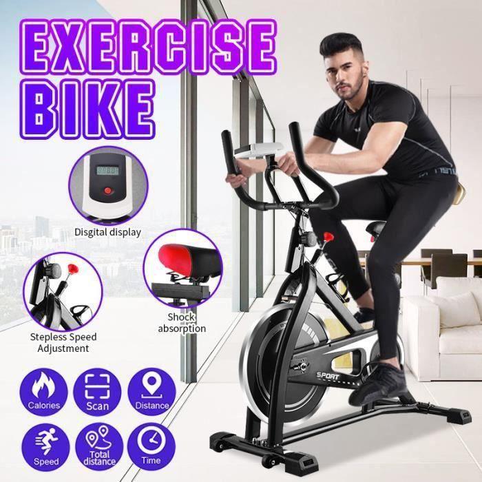 IVEENIR Vélo d'appartement intérieur maison bureau exercice fitness cyclisme MAX 120KG + LED NOIR