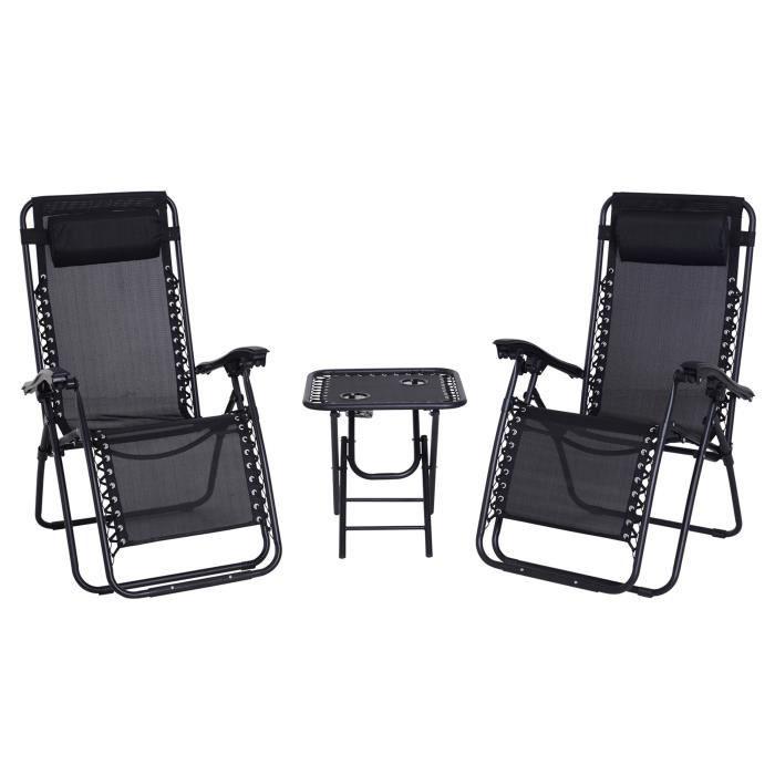 Lot de 2 chaises longues pliables zéro de gravité dossier inclinable table d'appoint acier noir