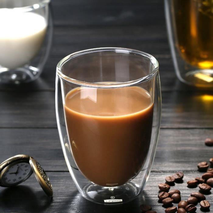 Veronique Tasse en verre transparent à double paroi résistante à la chaleur 350 ml - Tasse à café de bière
