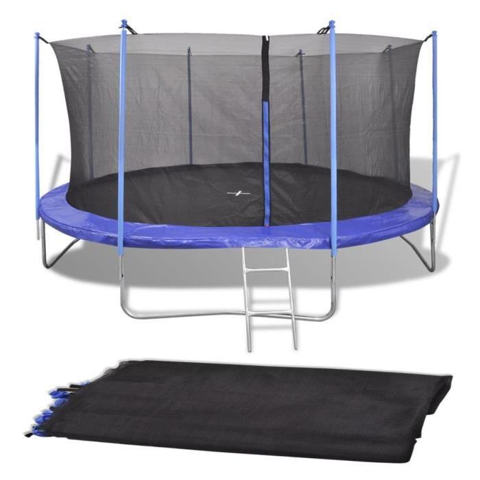 Filet de sécurité pour trampoline rond 3,66 m PE Noir 8 poteaux